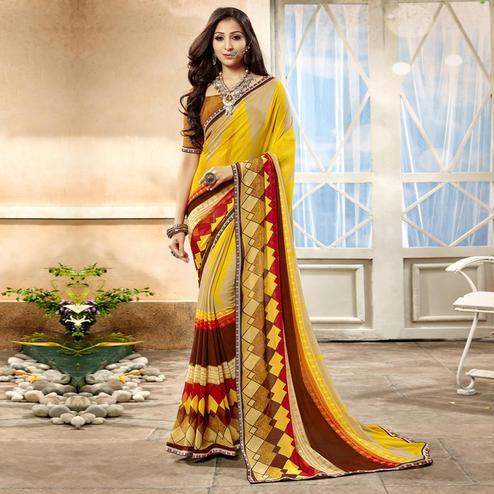 Jazzy Yellow Color Casual Printed Georgette Saree