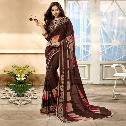Radiant Brown Color Casual Printed Georgette Saree