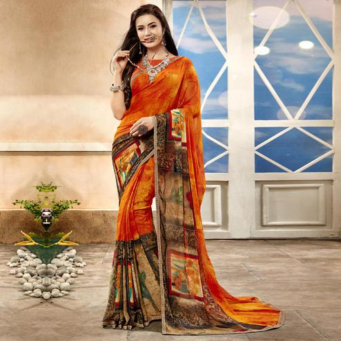 Classy Orange Color Casual Printed Georgette Saree