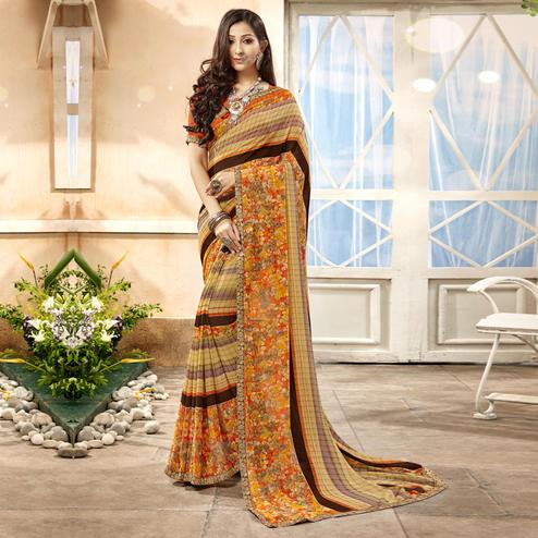 Opulent Beige Color Casual Printed Georgette Saree
