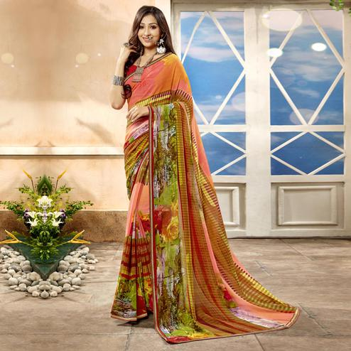 Glowing Peach-Multi Color Casual Printed Georgette Saree