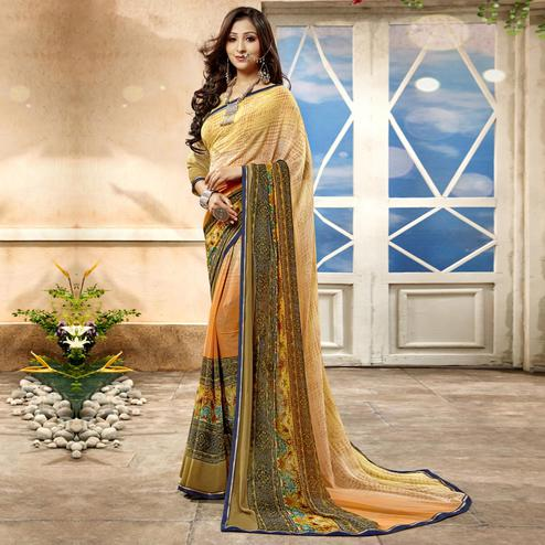 Exceptional Beige Color Casual Printed Georgette Saree