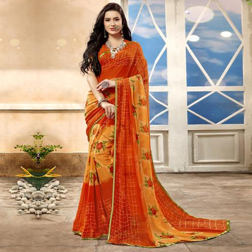 Gleaming Orange Color Casual Printed Georgette Saree