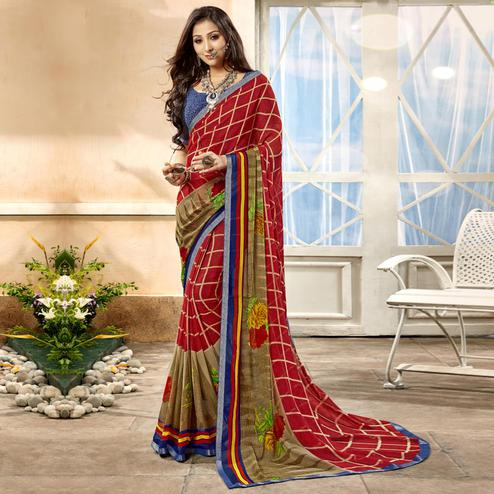Mesmeric Red Color Casual Printed Georgette Saree