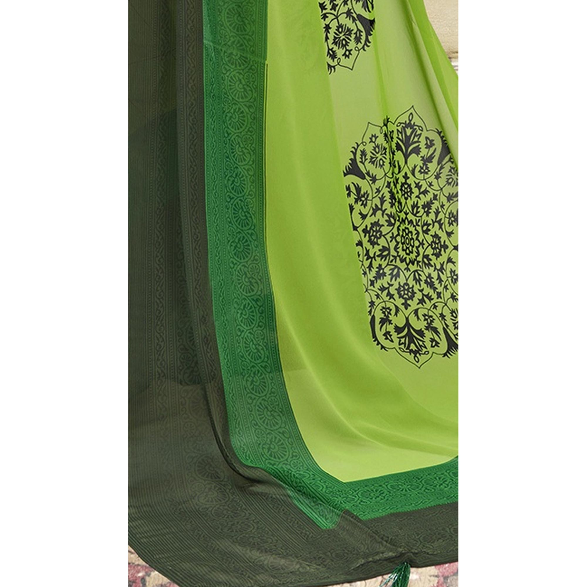 Ethnic Green Casual Printed Georgette Saree