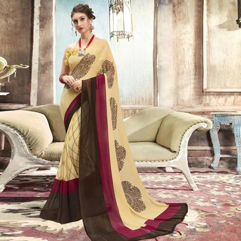 Impressive Cream Casual Printed Georgette Saree