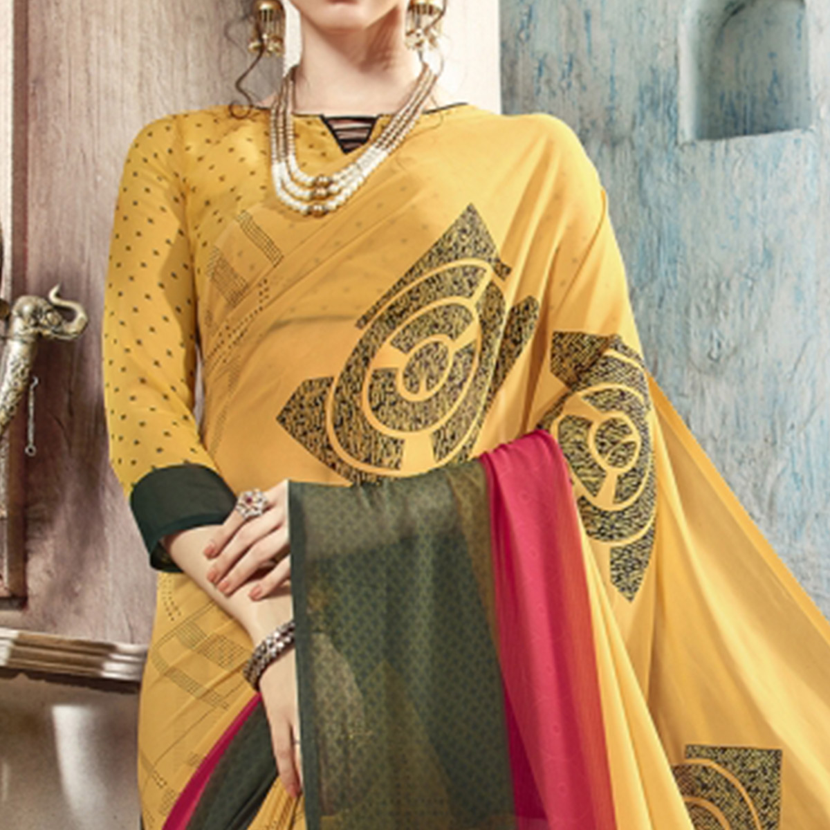 Lovely Yellow Casual Printed Georgette Saree