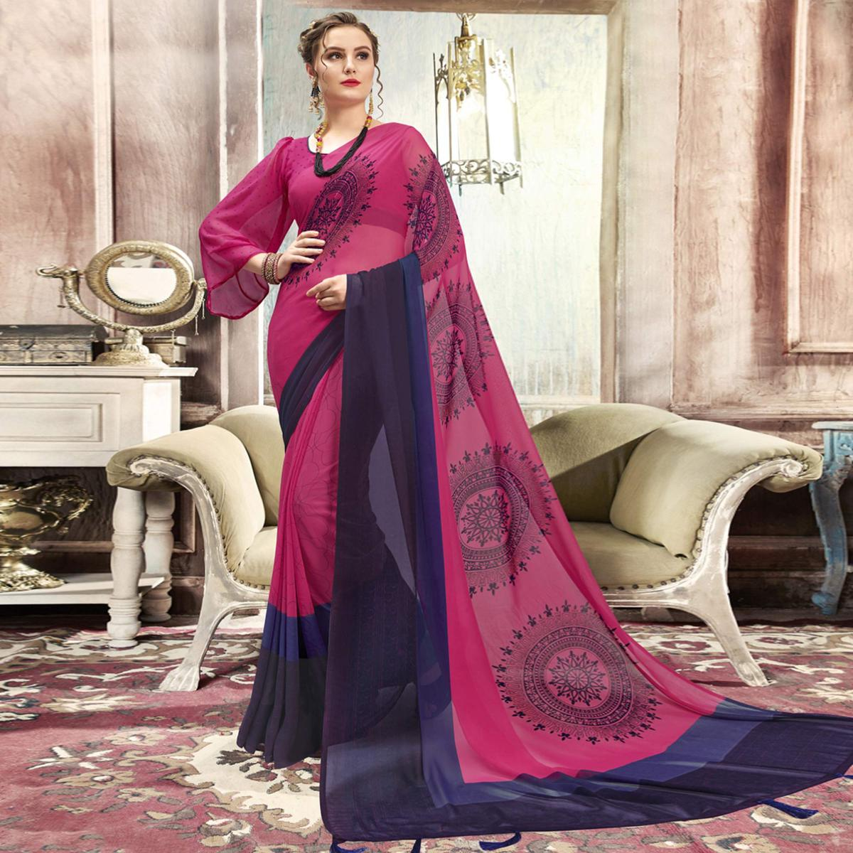 Ideal Pink Casual Printed Georgette Saree