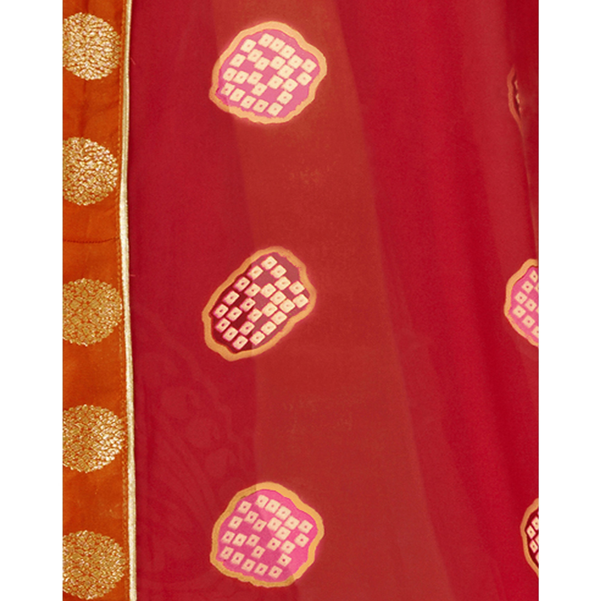 Desirable Red Color Casual Printed Georgette Saree