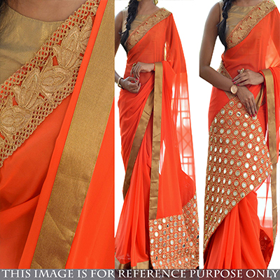 Orange Party Wear Georgette Saree