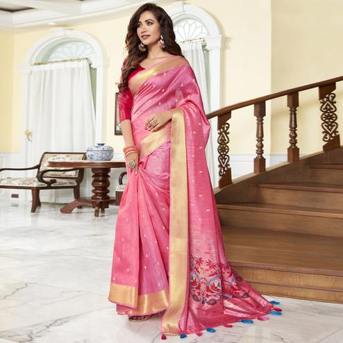 Ravishing Pink Color Festive Wear Printed Cotton Silk Saree