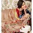 Staring Light Brown Color Festive Wear Printed Cotton Silk Saree