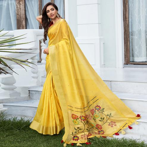 Dazzling Yellow Color Festive Wear Printed Cotton Silk Saree