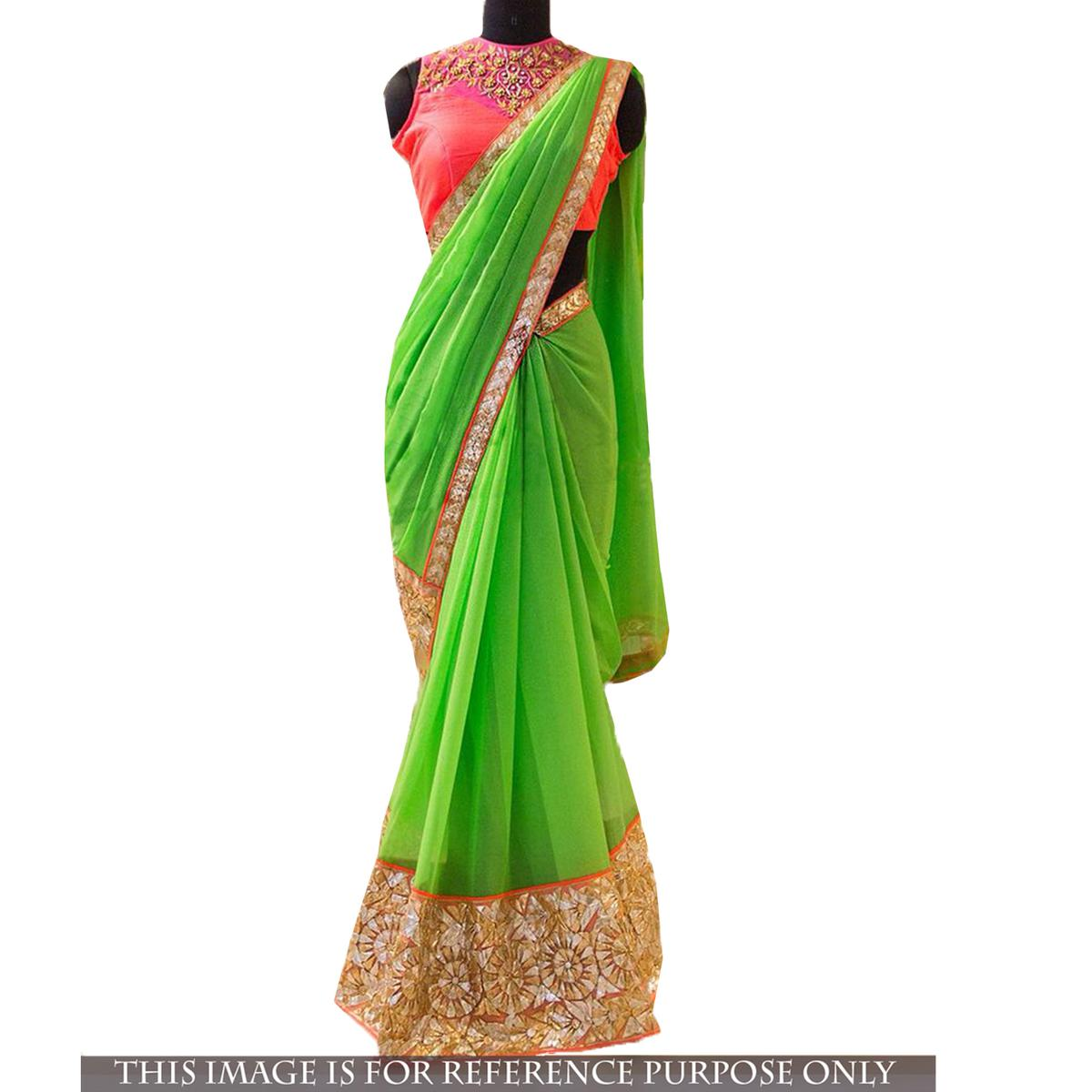 Green Georgette Thread Work Saree