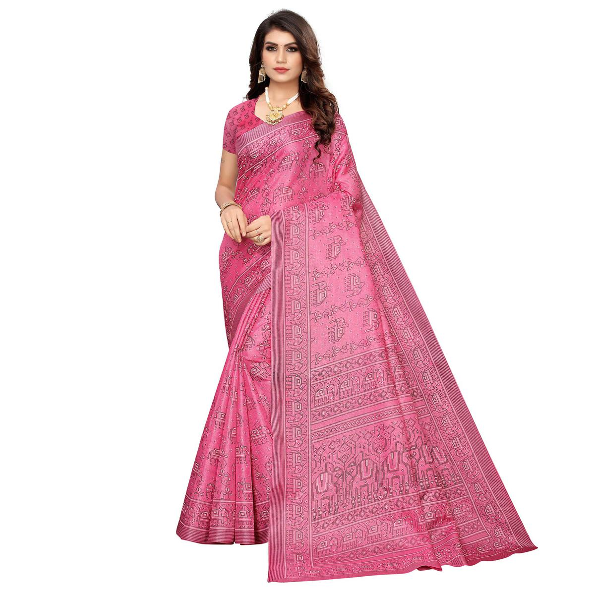 Lovely Pink Colored Casual Elephant Printed Khadi Silk Saree