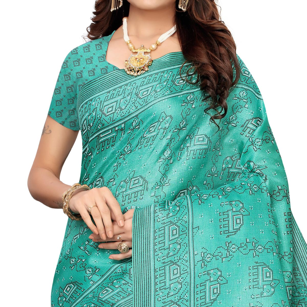 Imposing Aqua Blue Colored Casual Elephant Printed Khadi Silk Saree