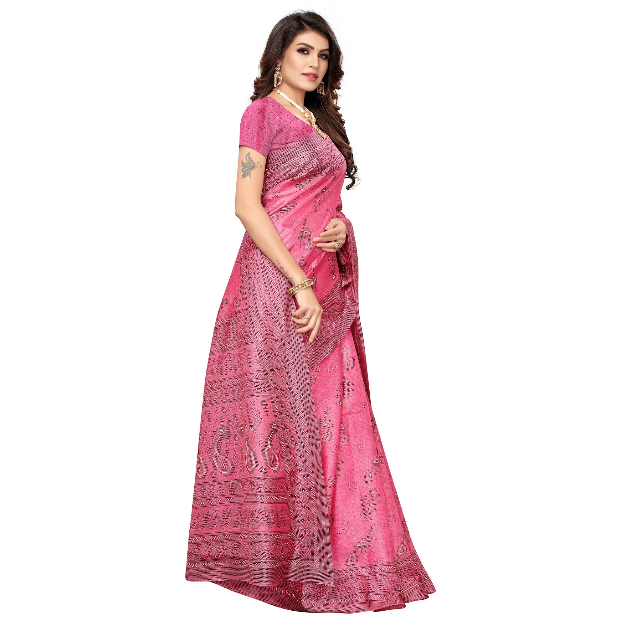 Gleaming Pink Colored Casual Peacock Printed Khadi Silk Saree