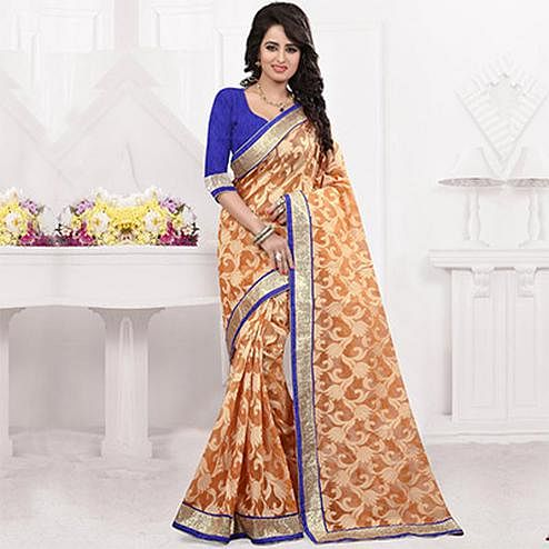 Orange Foil Print Jacquard Saree