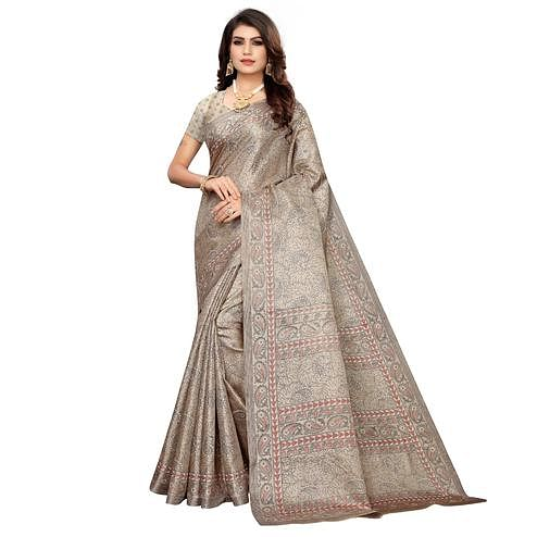 Desirable Light Brown Colored Casual Paisley Printed Khadi Silk Saree