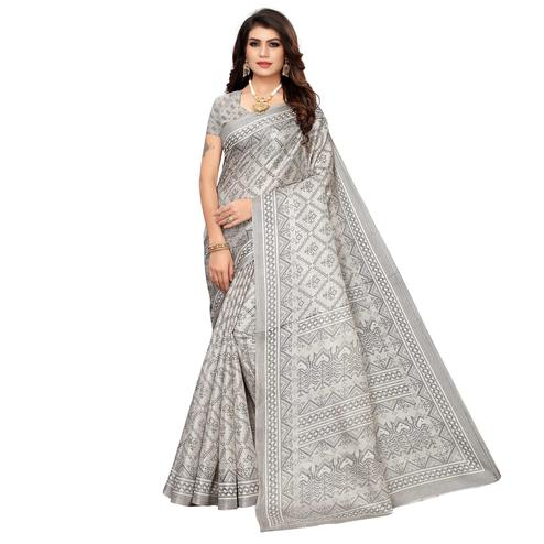 Prominent Grey Colored Casual Printed Khadi Silk Saree