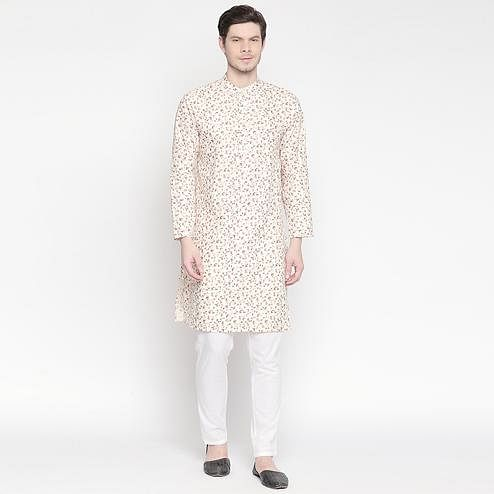 Alluring Cream Colored Festive Wear Cotton Long Kurta
