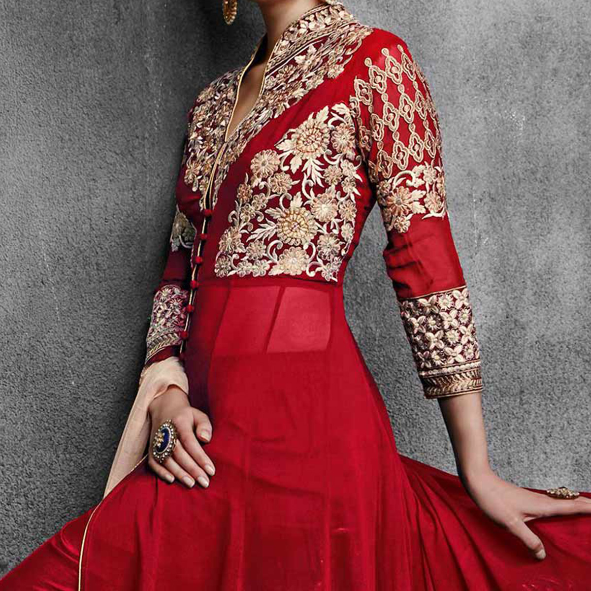Red Floral Embroidered Party Wear Suit