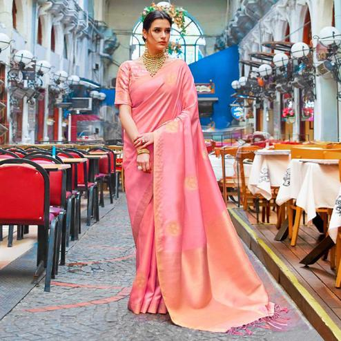Delightful Light Pink Colored Festive Wear Woven Banarasi Silk Saree