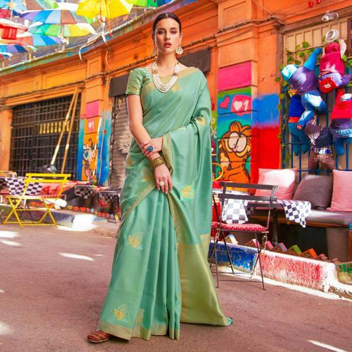 Pleasant Aqua Green Colored Festive Wear Woven Banarasi Silk Saree