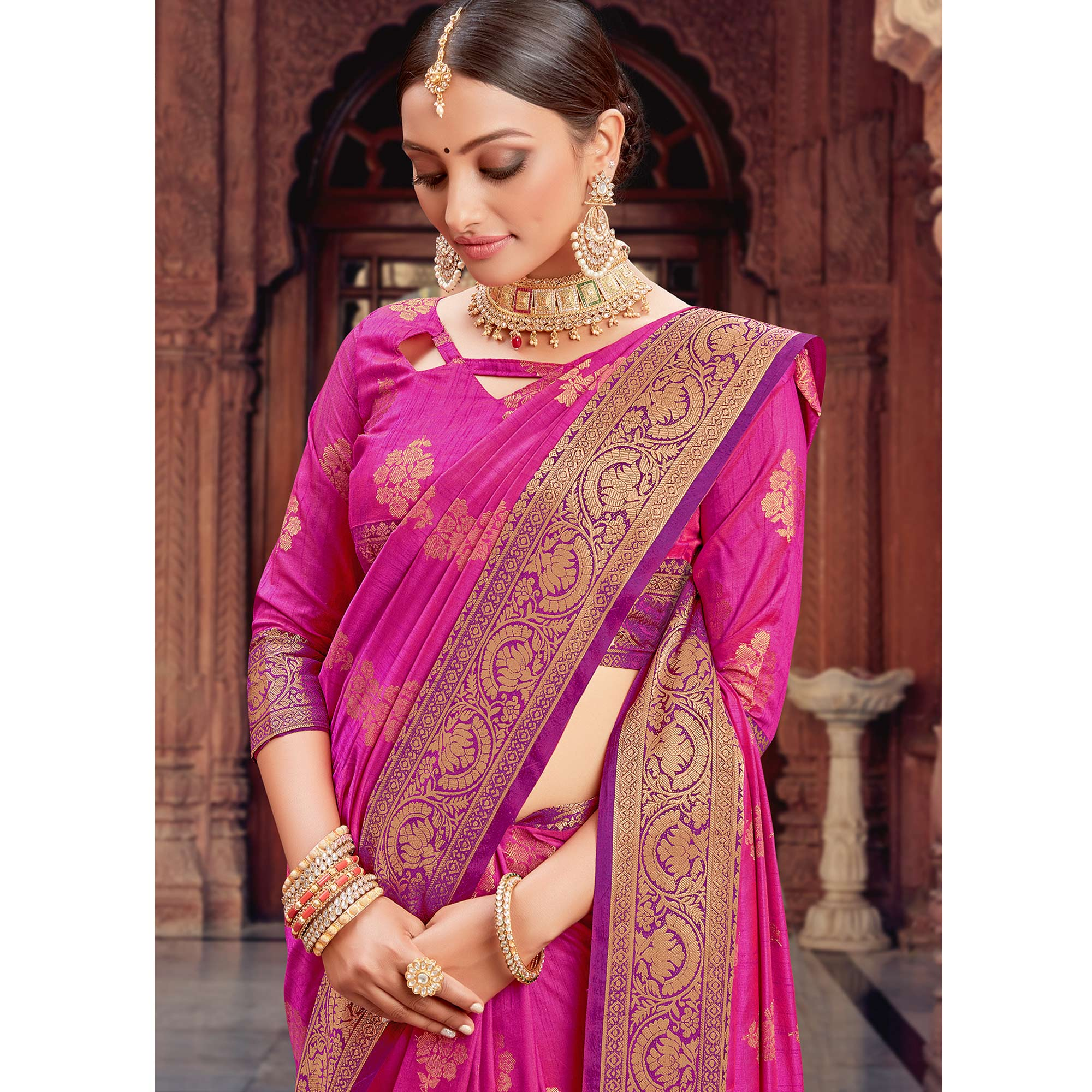 Lovely Pink Coloured Festive Wear Woven Silk Saree