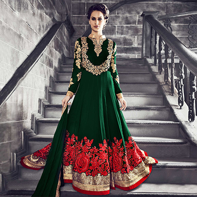 Ethnic Green Floral Embroidered Anarkali Suit