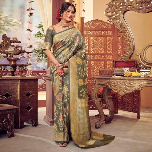 Grey Colored Festive Wear Woven Silk Saree