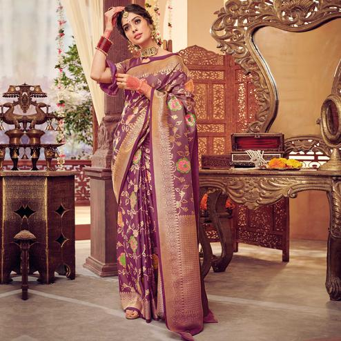 Purple Colored Festive Wear Woven Silk Saree