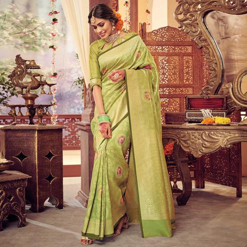 Green Colored Festive Wear Woven Silk Saree