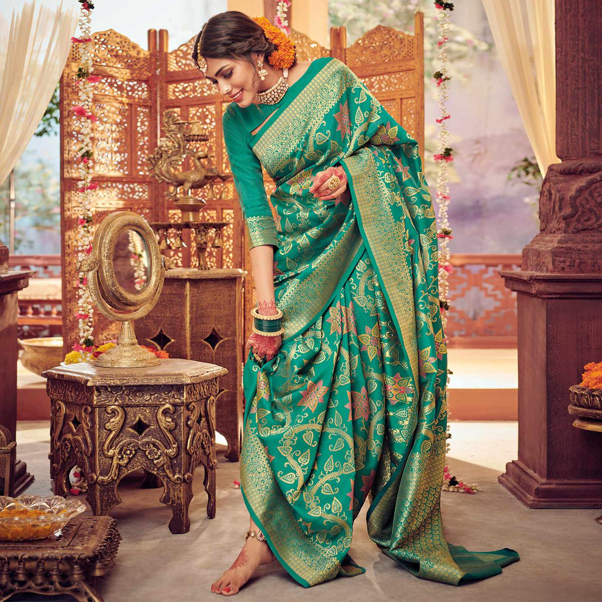 Turquoise Green Color Coloured Festive Wear Woven Silk Saree