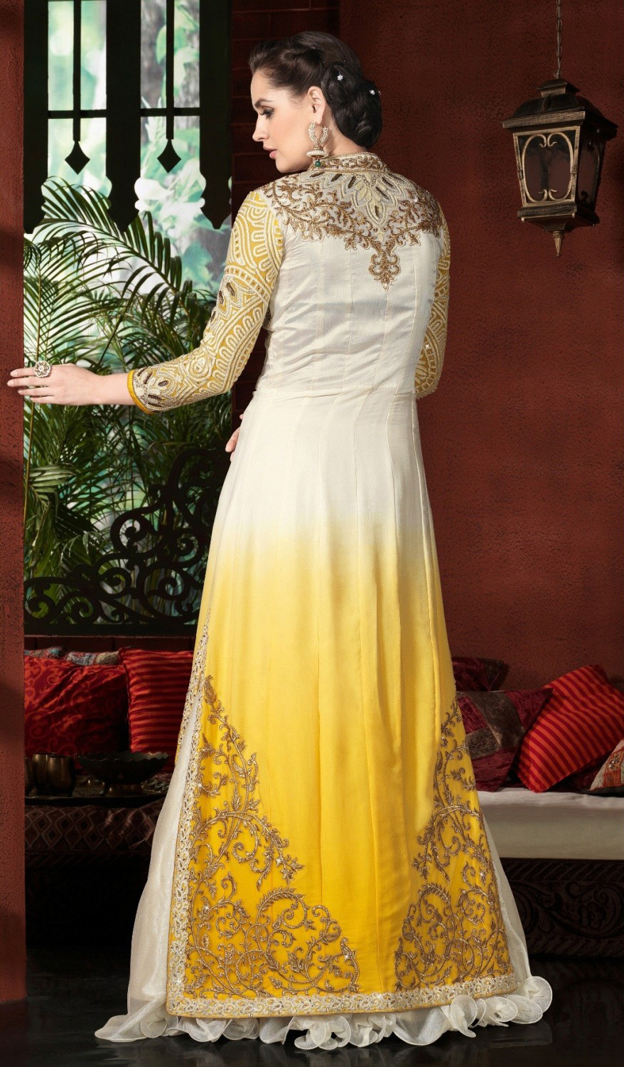 Yellow - White Embroidered Lehenga Suit