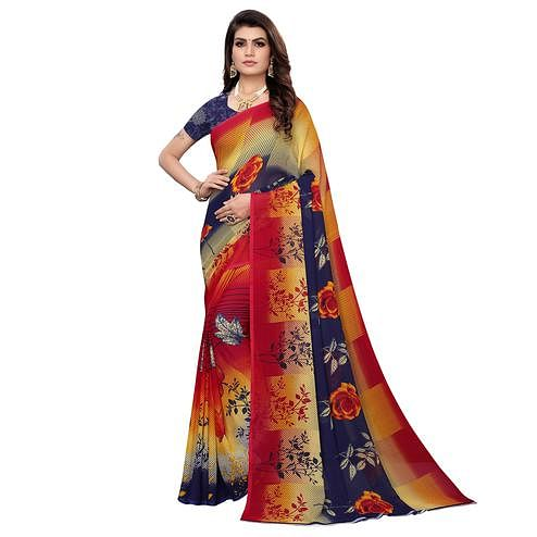 Blooming Multi Color Colored Casual Wear Printed Georgette Saree
