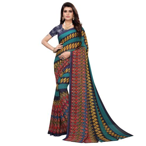 Engrossing Multi Color Colored Casual Wear Printed Georgette Saree