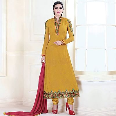 Mustard Color Embroidered Designer Suit