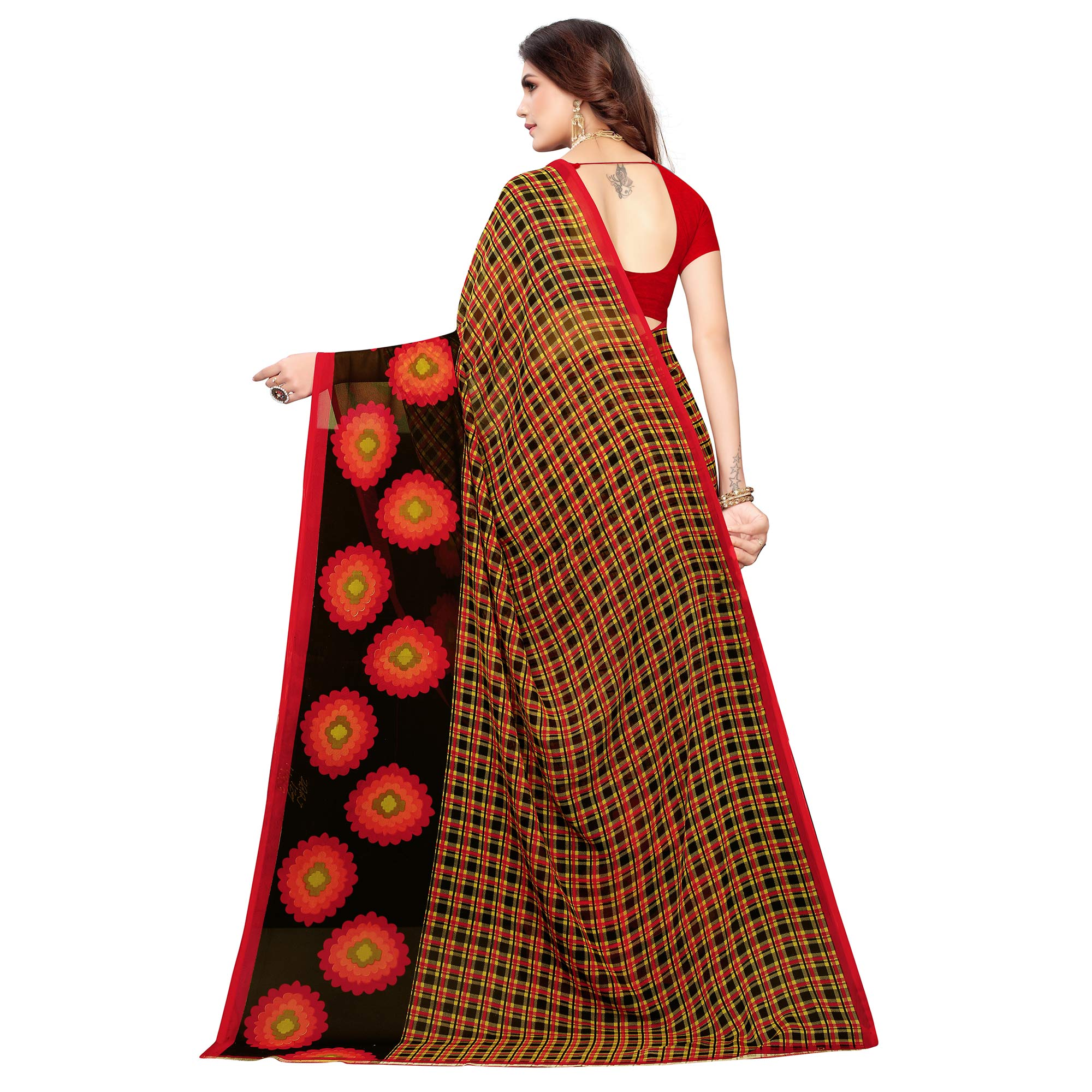 Blissful Red - Black Colored Casual Wear Printed Georgette Saree