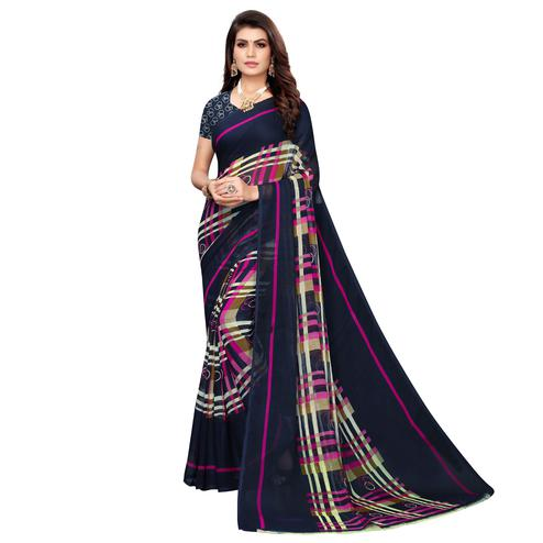 Ideal Navy Blue Colored Casual Wear Printed Georgette Saree