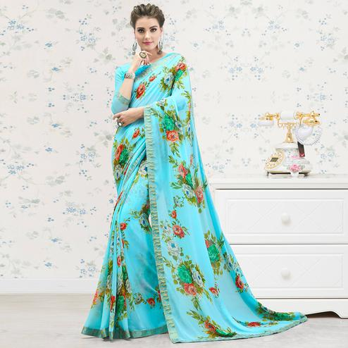 Exclusive Sky Blue Colored Casual Printed Georgette Saree