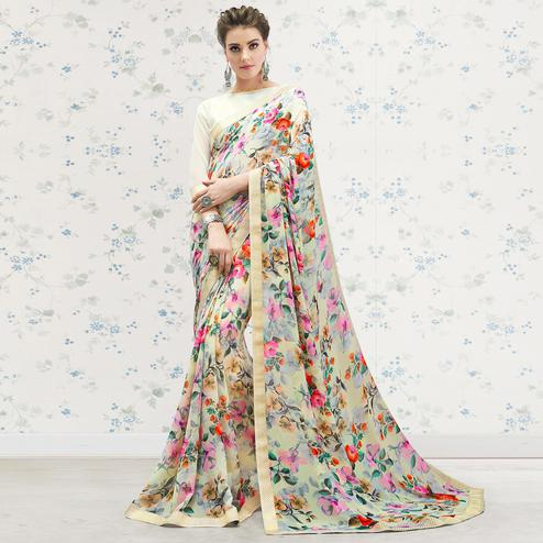 Radiant Cream-Multi Colored Casual Printed Georgette Saree