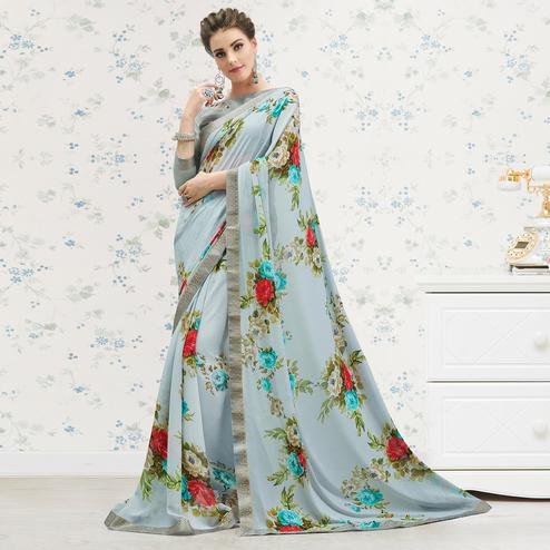 Jazzy Grey Colored Casual Printed Georgette Saree