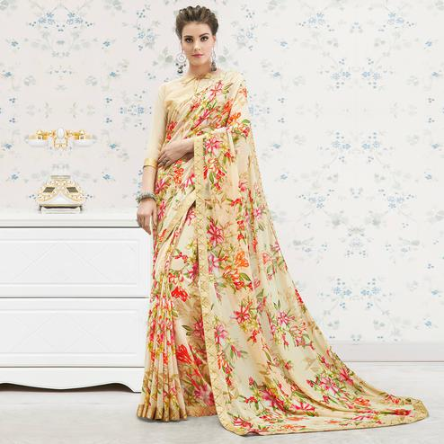 Delightful Beige Colored Casual Printed Georgette Saree