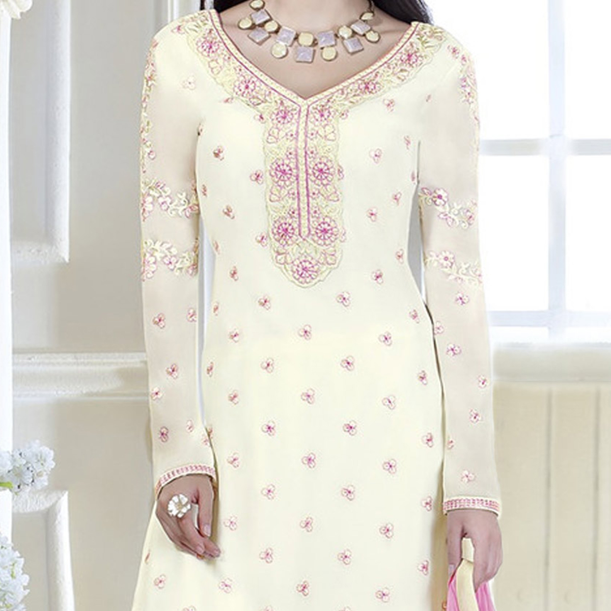 Off White Patch Border Work Ethnic Suit