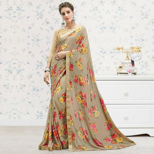 Opulent Brown Colored Casual Printed Georgette Saree