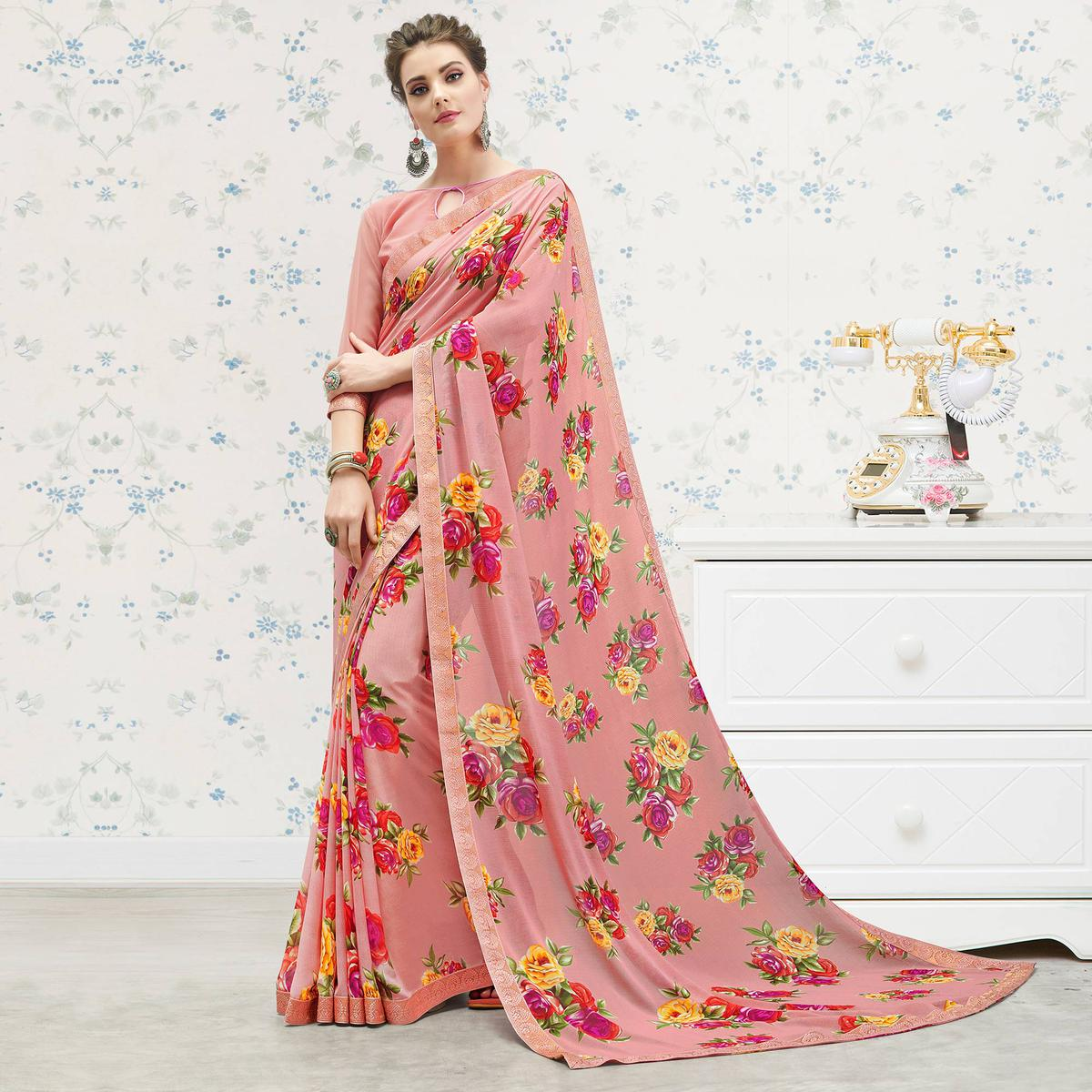 Engrossing Pink Colored Casual Printed Georgette Saree