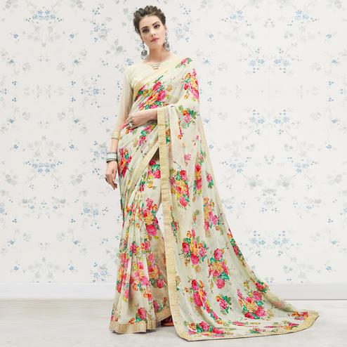 Innovative Off White Colored Casual Printed Georgette Saree