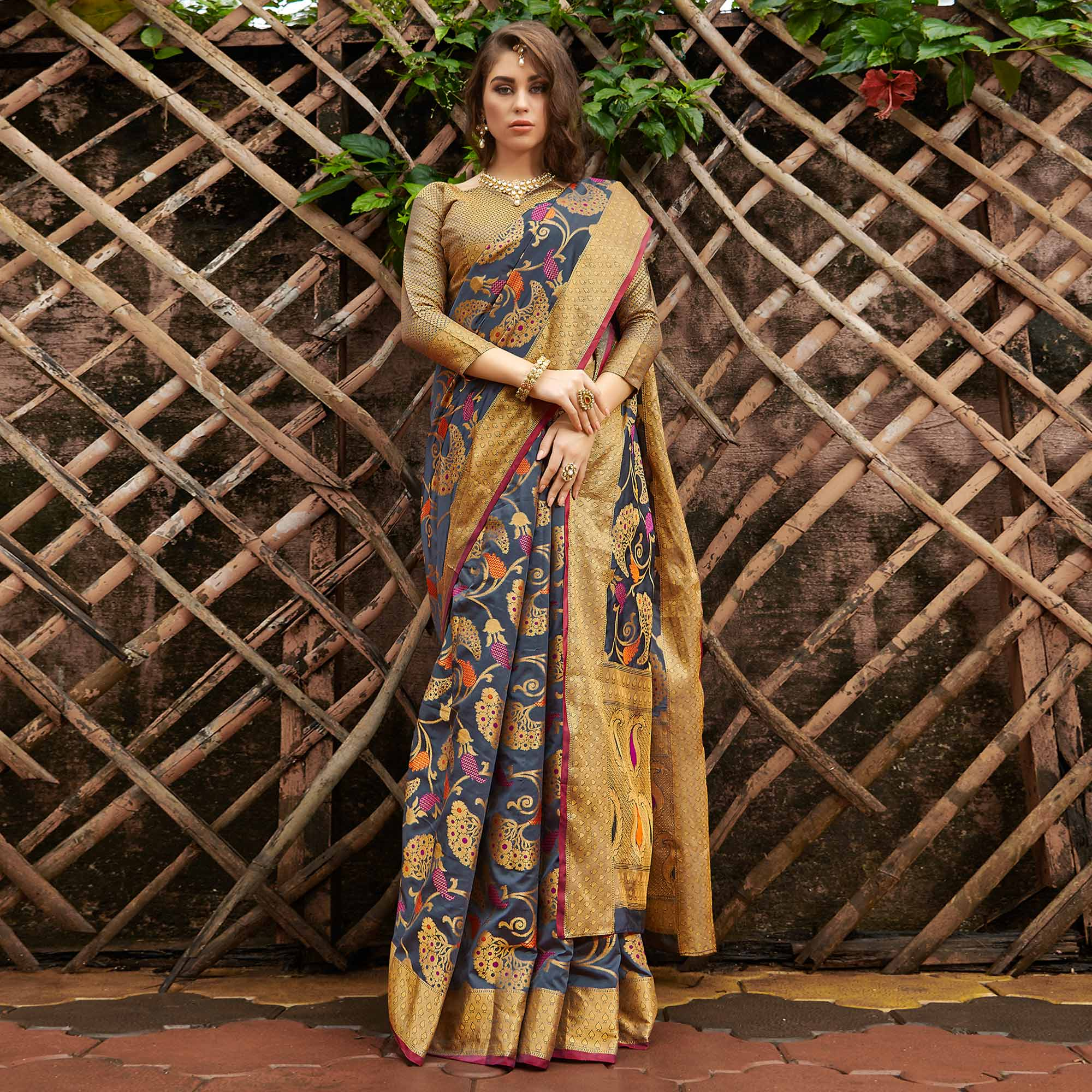 Appealing Grey Colored Festive Wear Woven Silk Saree
