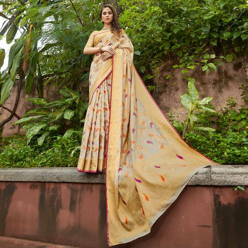 Eye-Catching Off White Colored Festive Wear Woven Silk Saree